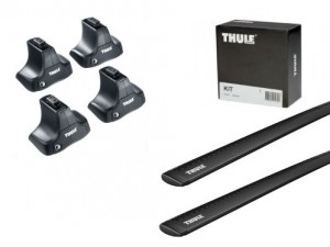 Barres Aluminium Noir Thule Land Rover Freelander 2 (toit Normal)