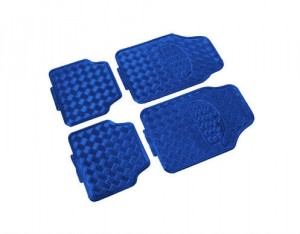 4 tapis pvc look alu bleu