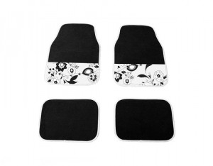 4 Tapis Moquette Black Flower