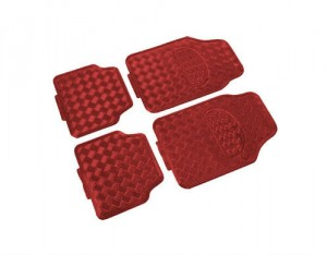 4 Tapis Pvc Look Alu Rouge